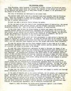 The Hiroshima Appeal, adopted August 6, 1959.