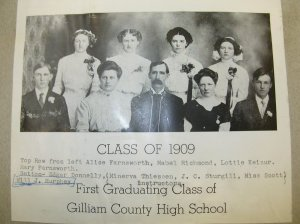 The Condon High School class of 1909.  William P. Murphy (incorrectly identified as Will J. Murphy) is seated at the far right.