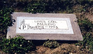 Linus Pauling's humble marker at the Oswego Pioneer Cemetery.