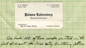Business card for Palmon Laboratories, Pauling's joint venture with his boyhood friend, Lloyd Simon.