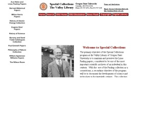 OSU Libraries Special Collections homepage, August 1998.  Featuring rotating images and scrolling text.