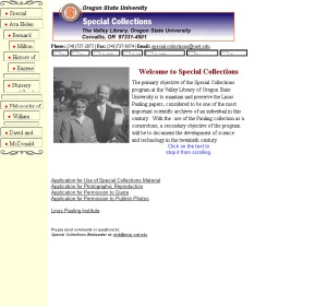 Special Collections homepage, July 2000.