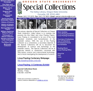 Special Collections homepage, July 2001.
