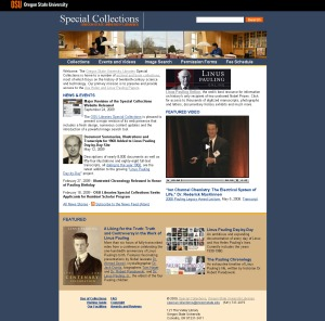 New Special Collections homepage, launched September 2009.