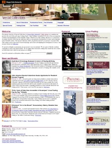 Old Special Collections homepage, launched September 2003.