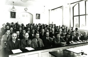 Group photo of participants at the Conference on Current Problems of Physics. Copenhagen, Denmark. September 1947. Niels Bohr sits in the front row, far left. David Shoemaker is seated in the second row, fourth from right.