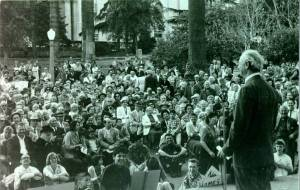 Linus Pauling speaking at a peace march in Westlake Park. Beverly Hills, California. 1960.  Photo by Robert Carl Cohen.