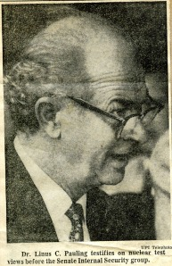 """Dr. Pauling Refuses Senators' Demand for Names of A-Ban Group"", The Philadelphia Inquirer, June 22, 1960."