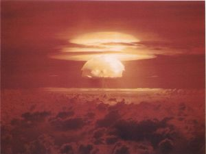 """Castle Bravo,"" the first hydrogen bomb test, March 1, 1954. (U. S. Dept. of Energy photograph)"