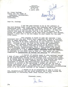 Letter from Irwin Stone to Linus Pauling, April 4, 1966.  This is the communication that spurred Pauling's interest in vitamin C.