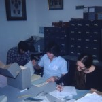 Students processing a collection, ca. 1979.