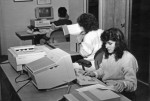 Student workers in the original Special Collections reading room, ca. late 1980s.