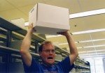 Super Karl helping move the University Archives records to the Valley Library, 2003.