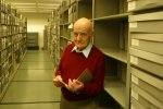 John Fenn, 2002 Nobel chemistry laureate, visiting the Special Collections stacks, October 2004.