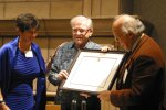 Hoffmann receiving the Pauling Legacy Award certificate from OSU University Librarian Faye Chadwell and Linus Pauling Jr.