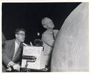 Hayward and Caspar Gruenfeld building a moon model, ca. 1934.
