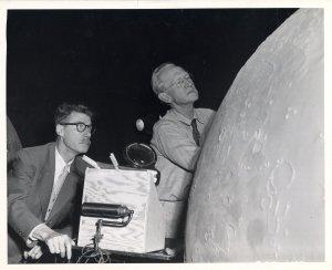 Hayward and Caspar Gruenfeld building a moon model, ca. 1934.