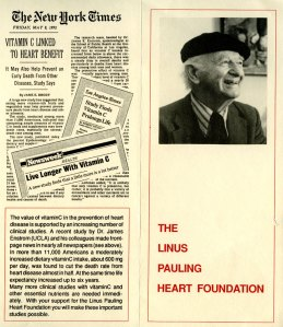 Promotional literature for the Linus Pauling Heart Foundation, ca. 1992.