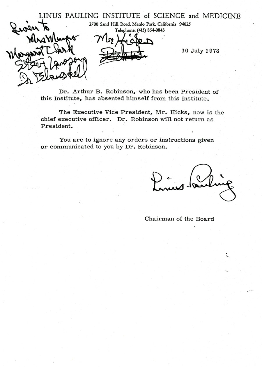 Linus Pauling Institute Paulingblog Page 3 Wiring A 4 Way Switch Diagram Four Caroldoey Memorandum Of July 10 1978