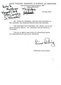 Pauling memorandum of July 10, 1978.