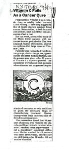 """""""Vitamin C Fails as a Cancer Cure,"""" New York Times, September 30, 1979."""