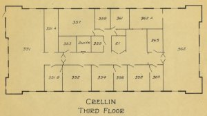 Architectural schematic for the third floor of the Crellin Laboratory.