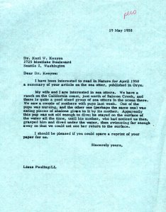 Letter from Linus Pauling to Karl Kenyon, May 19, 1958.