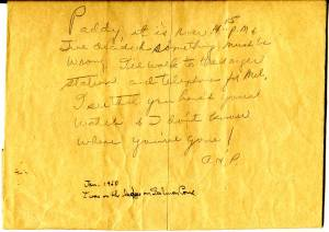 Ava Helen's note to her husband, January 30, 1960.