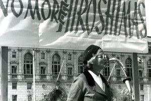 """Ava Helen Pauling speaking at a """"No More Hiroshimas"""" march, sponsored by Women Strike for Peace. August 1961. San Francisco, California."""