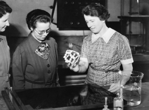 Dorothy Wrinch holding a model of a cylcol, 1938. (Associated Press photograph)