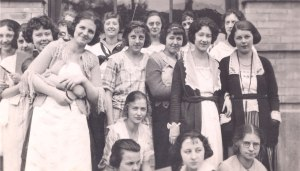 Ava Helen Miller at left, with some of her high school classmates, 1921.