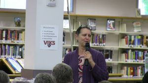 Cheryl Pauling sharing memories of her grandmother in the North Salem H.S. library.