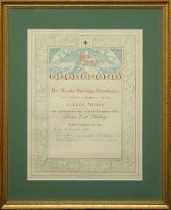 Pauling's Nobel certificate, 1963.