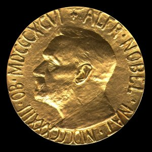 The Nobel medal, obverse.
