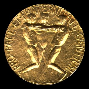 The Nobel medal, reverse.