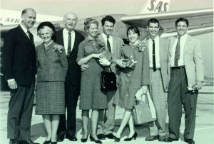 Arrived in Oslo. From left, an SAS official, Ava Helen and Linus Pauling, Linda Pauling Kamb and Barclay Kamb, Lucy Neilen Pauling, Crellin Pauling and Linus Pauling Jr. December 1963.