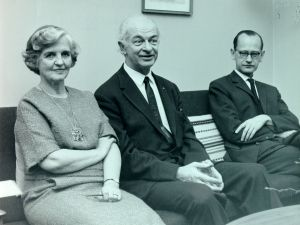 Ava Helen and Linus Pauling with Martin Ottesen, Copenhagen, January 1964.