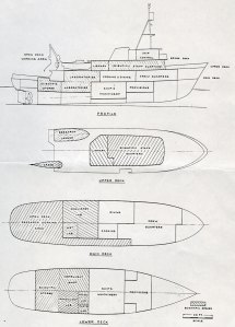 Schematic of the R/V Alpha Helix, 1966.
