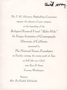 Invitation to the dedication of the R/V Alpha Helix, June 1966.