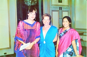Here we are at the Stanford Court that night with postdoctoral fellows, Dr. Karin Sturm from Heidelberg, Germany, on the left and Dr. Madhu Varma from Madras, India, on the right. My wife, Becki, is in the middle. I recall that Dr. Pauling enjoyed this night as well.