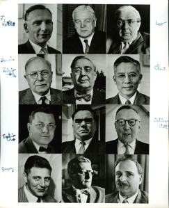 Select participants in the 1958 Pugwash Conference. Joseph Rotblat is pictured at top left.  Annotated by Linus Pauling.