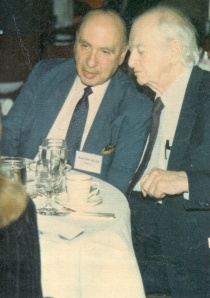 "Abram Hoffer and Linus Pauling at the symposium, ""Adjuvant Nutrition in Cancer Treatment,"" Tulsa, Oklahoma, November 1992."