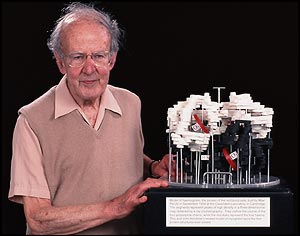 Max Perutz with his hemoglobin model. Image credit: BBC.