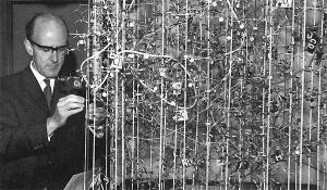 Perutz with his hemoglobin molecule, 1959. Image credit: Life Sciences Foundation.