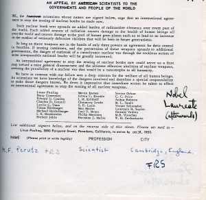 Signature of Max Perutz added to the United Nations Bomb Test Petition, 1957.