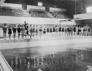The Men's Gymnasium pool at Oregon Agricultural College, ca. 1920s.  This is where Linus Pauling would have taken his required swim test. Or did he...?
