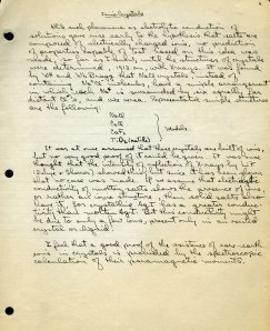 Segment of Pauling's draft manuscript for The Nature of the Chemical Bond, ca. 1936.