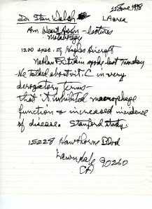 Pauling note to self, June 22, 1978.