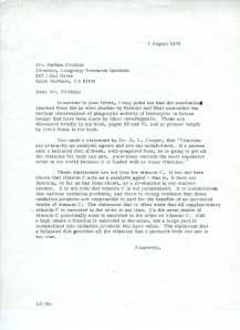 Letter from Pauling to Pritikin, August 1, 1978.