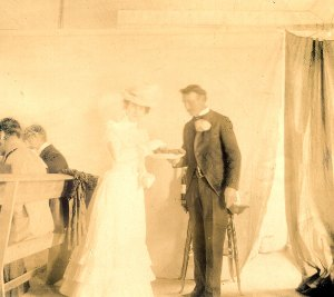 Belle Darling posing with her father on her wedding day, 1900.
